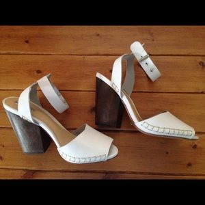 Schutz cream leather wood Cuban heels